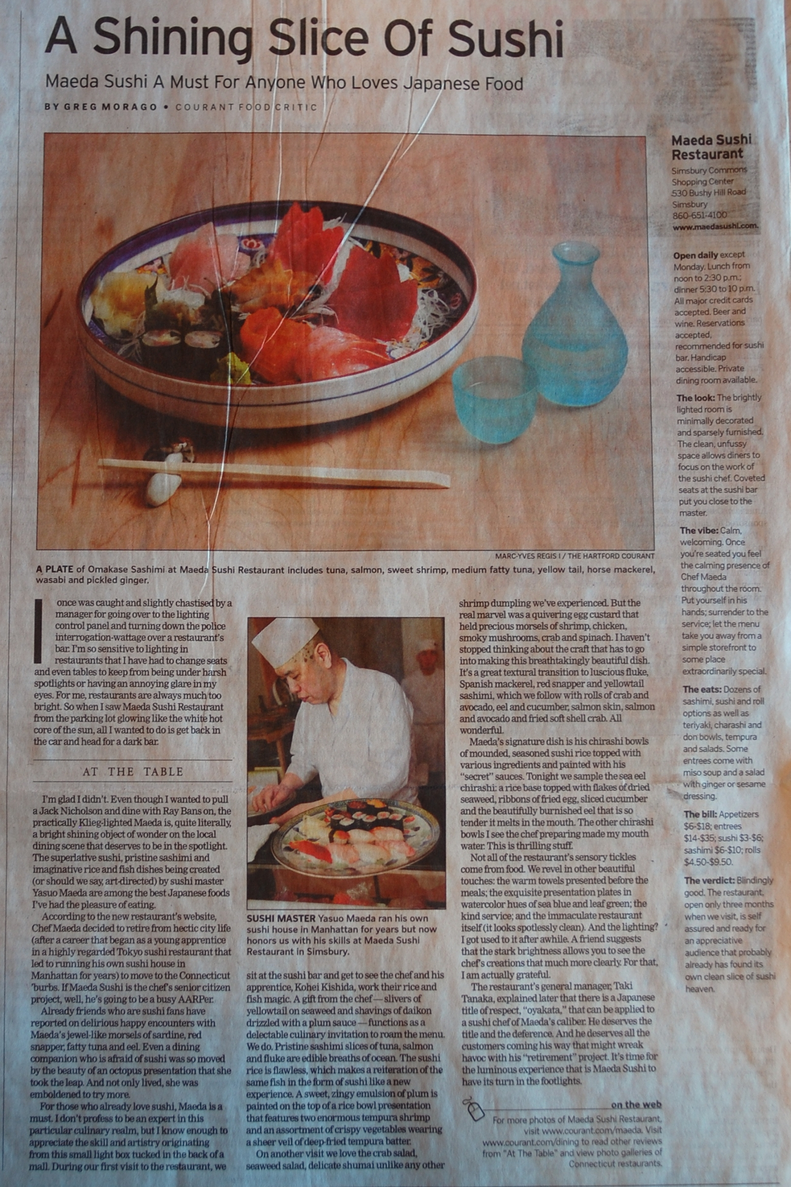 The Hartford Courant review of Maeda Sushi Restaurant