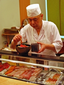 Chef Maeda applies some final touches to his Deluxe Chirashi
