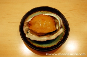Californian abalone is steamed in sake